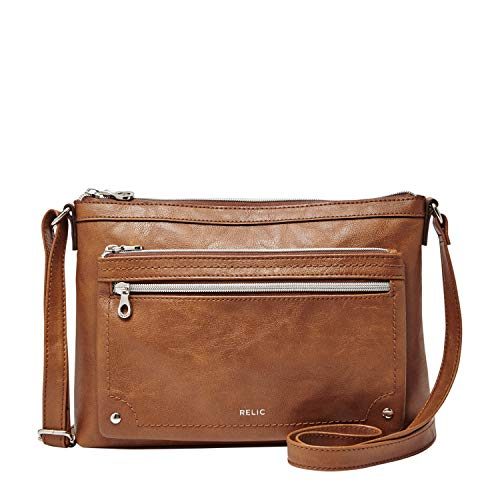 """This Relic by Fossil crossbody bag is the perfect size for all your daily essentials Exterior: 2 zip pockets, faux leather Interior: zip pocket & 2 slip pockets 7.6""""H x 11""""W x 2.25""""D Zipper closure"""