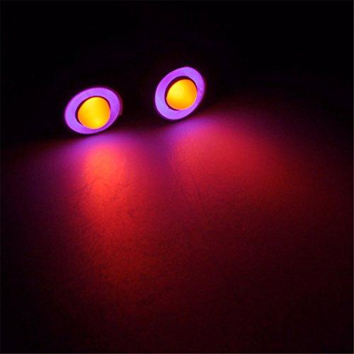 10mm 2Leds Angel Eyes & Demon Eyes LED Faro trasero para 1/10 RC coche (púrpura + amarillo)