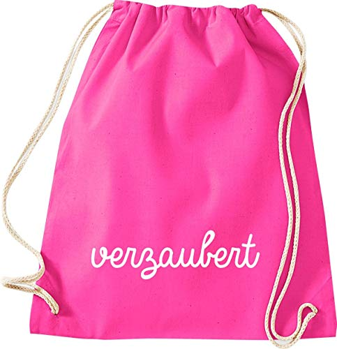 ShirtInStyle Gym Sack Turnbeutel Kultsack lustiger Typo Spruch verzaubert Farbe pink