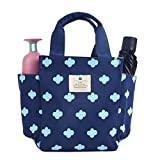 Small Lunch Bag Box Tote Handbag with Water Bottle Holder for Women Mom Snack Bag(Flower Print)