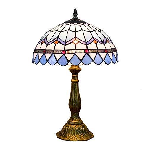 ZGQA-GQA Vector de Tiffany lámpara moderna europea creativa de cristal de la mancha azul restaurante Mediterráneo dormitorio Mesita de luz de la lámpara de cristal lámpara de mesa retro cubierta Tiffa