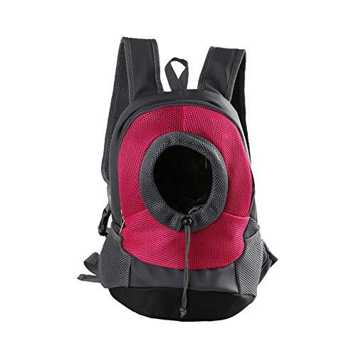 HUI JIN Mochila transpirable cómoda para transportar mascotas, para gatos, perros, hombros delanteros, color rosa