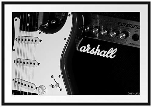 Picati E-Gitarre Verstärker Bilderrahmen mit Galerie-Passepartout/Format: 100x70cm / garahmt/hochwertige Leinwandbild Alternative