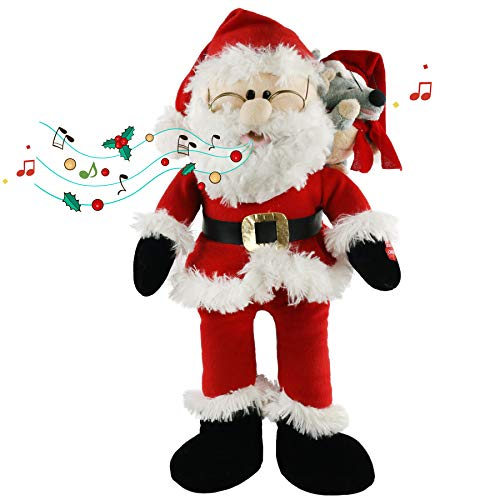 Houwsbaby Singing Santa Claus Interactive Christmas Plush Toys with Music Electronic Animated Stuffed Animal with Plush Pal Friend Mouse on Shoulder Gift for Kids Sing a Song, Red, 20'' (Santa Claus)