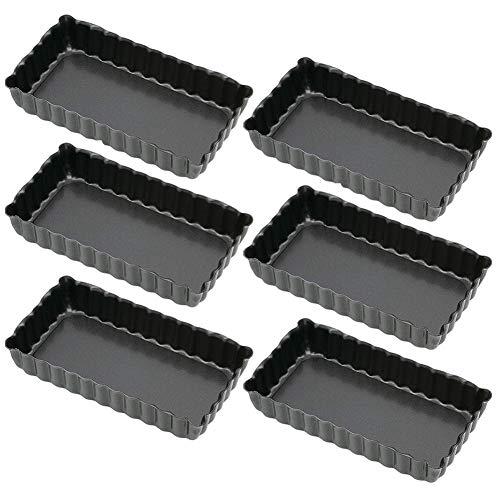 JPYH Sartén Rectangular Antiadherente de 6 Piezas,4,4 Pulgadas Paquete de 6,Quiche Pie Pan con Parte Inferior Extraíble,para Tartaletas Rectangular