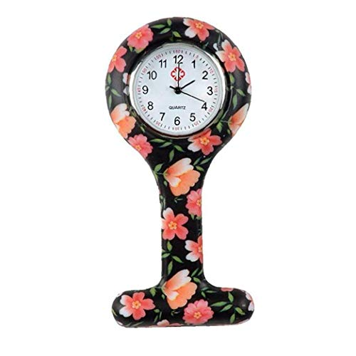 Nicedier Mujeres T Forma de Cuarzo de Bolsillo de la Broche de Bolsillo Reloj Reloj de Silicona Resistente Reloj analógico Clip Fob Médico Enfermera Reloj Anaranjado