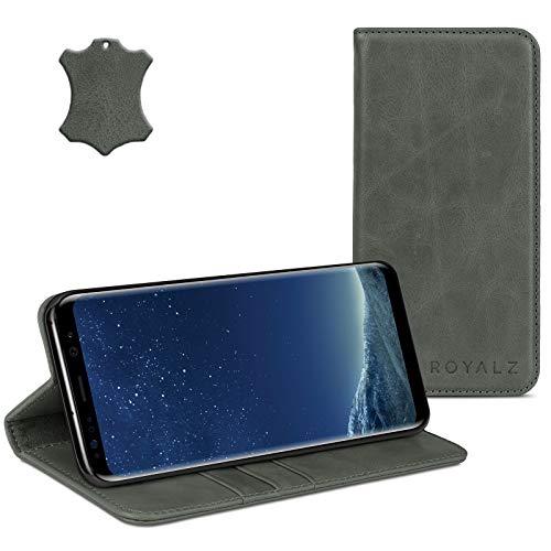 ROYALZ Ledertasche für Samsung Galaxy S8 Plus Lederhülle (für Galaxy S8+ SM-G955F / G955 & Galaxy S8 Plus Duos) Tasche Cover Hülle Schutzhülle - Magnetverschluss, Farbe:Grau