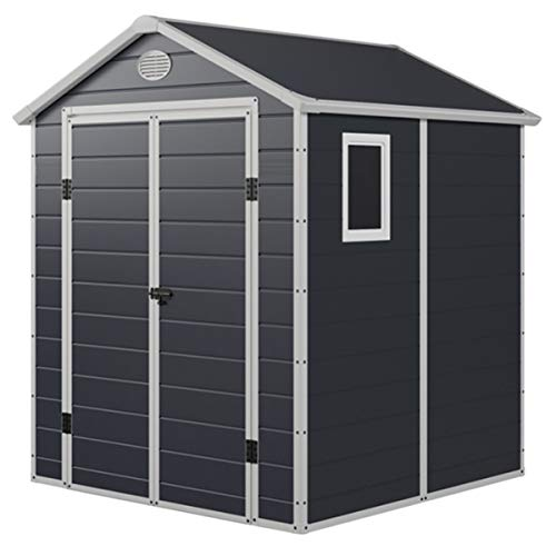 Charles Bentley Plastic Storage Garden Shed 6.3ft x 6.2ft Grey Medium Roof Outdoor Garden Tall Box Store Tools