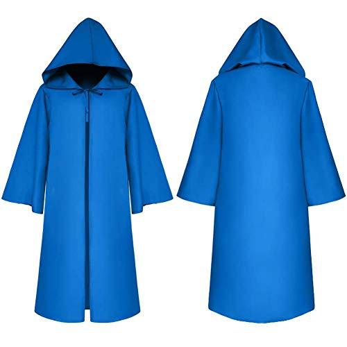 LI MING SHOP Traje Y Sombrero De Mago De Halloween, Capa Larga De Color Slido, Disfraz De Actuacin para Nios, Adecuado para Nios Y Nias(Color:Azul,Size:Child2)