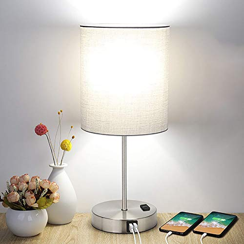 WOERD Lámpara de Mesa de Tela Lámpara de Cabecera Control Táctil con 2 Puertos de Carga USB Lámpara de Escritorio Moderna para Sala de Estar Dormitorio Comedor Estudio