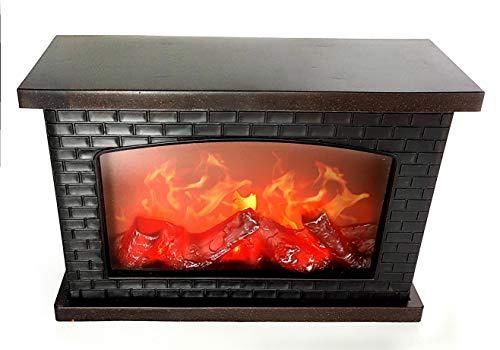 LED Tischkamin Kamin LED Laterne mit realistischer Flammensimulation schwarz aus Kunststoff 30x20 cm