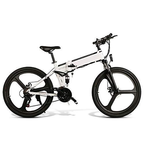 CARACHOME Bicicleta eléctrica Plegable de 26 Pulgadas, Bicicleta eléctrica para Bicicleta de montaña para Adultos, Motor 48V 10AH 350W con Puerto de Carga de teléfono móvil USB y Guardabarros,Blanco