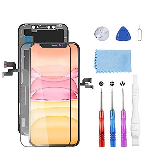 YPLANG Für iPhone X Display, LCD 3D Touchscreen Digitalisierer mit Vollständigem Reparatursatz Einschließlich Reparaturdiagrammkarte für Gehärtetes Glas mit Magnetschrauben für iPhone X 5.8