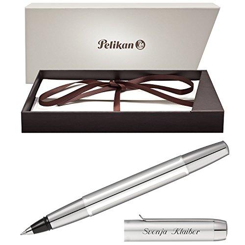 Pelikan Tintenroller PURA Silber mit persönlicher Laser-Gravur aus Aluminium mit Hochglanz verchromten Metallbeschlägen