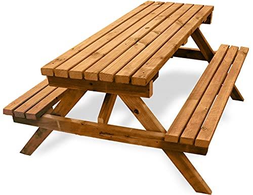 Plantawa Table de pique-nique en bois épais, 150 cm de largeur x 150 cm de longueur x 75 cm de hauteur, pour 6 personnes et 4 cm d'épaisseur, table avec banc, meuble de jardin