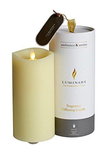 Luminara LED Candle Fragrance Diffuser 10 cm Ø x 20 cm Moving Flame, Paraffin, Ivory, Large