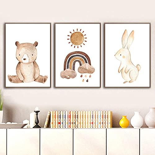 PGMZQHGF Kindergarten Wall Art Print Canvas Painting Decoración de la habitación de los niños Dibujos Animados Bear Rabbit Moon Sun Cartel nórdico Imagen de Pared   40x50cmx3 Sin Marco