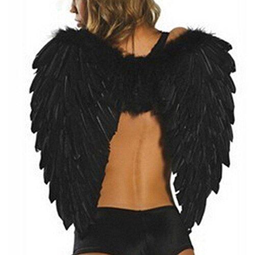 Weiße Engelsflügel für Cosplay, mit echten Federn, magisches Kostüm, Bühnenzubehör, für Halloween, Weihnachtsparty, 59,9x 45,7cm von Aolvo, schwarz, 23.6x18''