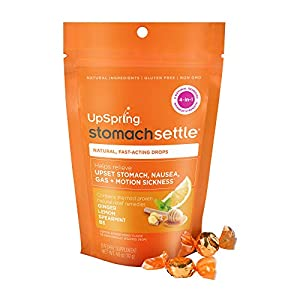 UpSpring Stomach Settle Drops for Nausea, Gas, Bloating, Morning Sickness and Motion Sickness Relief, 28 Count Individually Wrapped Drops for Tummy with Ginger, Lemon, Spearmint, Honey and B6