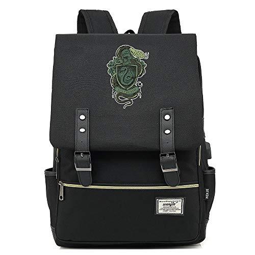 Harry Potter Rucksack, Slytherin College Laptop Tasche Jugend Casual Daypacks, mit USB-Ladeanschluss Unisex Schwarz