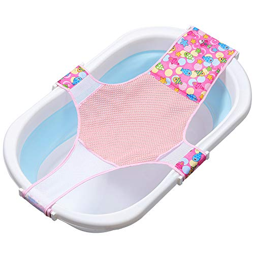 MOOKLIN ROAM Recién Nacido baño del bebé Soporte del Asiento, Hamaca de Baño Antideslizante con Tejido de Malla Doble, Asiento Seguridad de Bañera de Bebé para 0-36 meses - Rosa