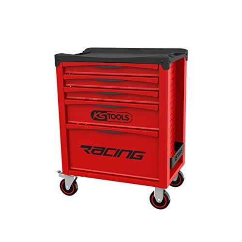 KS Tools 855.0005 - Servante d'atelier 5 tiroirs - Gamme RACING - Système de fermeture centralisée par serrure latérale - Double poignée de manoeuvre - Plan de travail en polypropylène