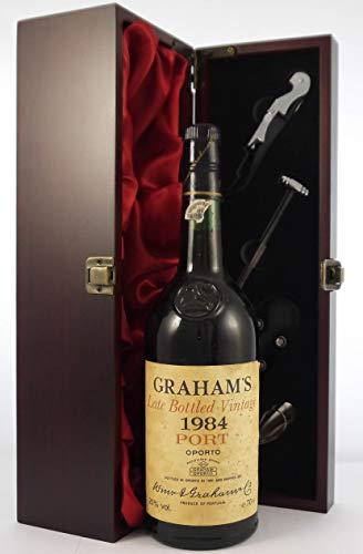 Grahams Late Bottled Vintage Port 1984 in einer mit Seide ausgestatetten Geschenkbox, da zu 4 Weinaccessoires, 1 x 750ml