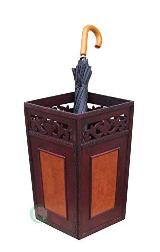 Vintiquewise Handcrafted Umbrella Holder 29.85 x 29.85 x 49.53 cm cherry