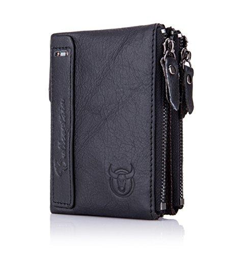 BULLCAPTAIN Genuine Leather Wallet for Men Vintage Bifold Double Zipper Coin Purse 2