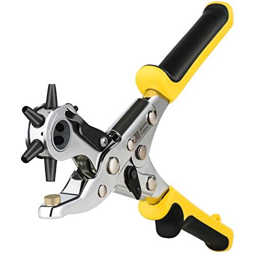 BOSI Alicate Sacabocados para Cinturones y Cuero, Punzones de agujero, 6 tubos de punzón, 2-2.5-3 - 3.5-4 - 4.5 mm