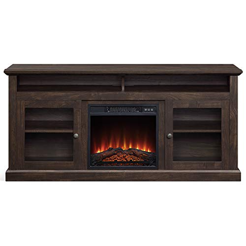 """BELLEZE 014-HG-41831-HT-BRO 60"""" Entertainment Center Stand Console with Shelves for TVs up to 65"""" Wide W/Fireplace and Remote Control, Brown"""