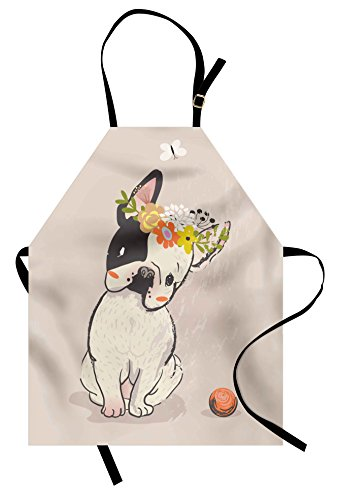 Lunarable Dog Apron, Hand Drawn French Bulldog with Wreath on Its Head Watercolor Domestic Pet Illustration, Unisex Kitchen Bib Apron with Adjustable Neck for Cooking Baking Gardening, Multicolor