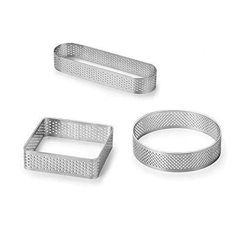 SODIAL(R) - 3 anillos de acero inoxidable perforados para hornear y hornear, molde para tarta, para tiendas de postres y cafeterías