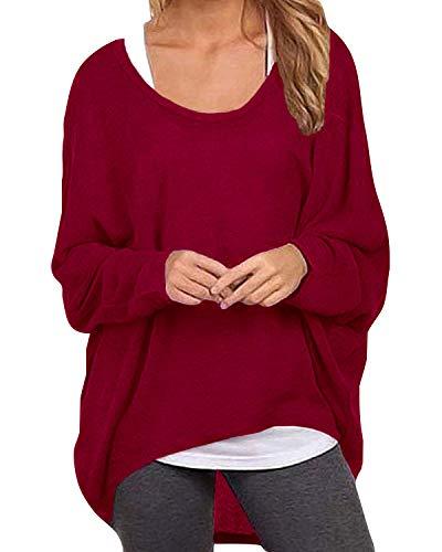 ZANZEA Damen Lose Asymmetrisch Jumper Sweatshirt Pullover Bluse Oberteile Oversize Tops Wein Rot EU 50/Etikettgröße 3XL