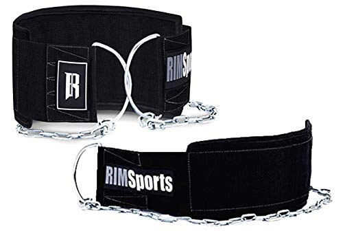 RIMSports Dip Belt with Chain for Pullups- Ideal Weighted Belt for Pull ups and Chin Up Belt-Best Weighted Pullup Belt and Pull Up Weight Belt for Dips-Durable and Weight Lifting Belt with Chain