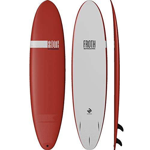 Boardworks Froth! | Soft Top Surfboard | 3 Fins | Longboard Surf Board | 8' | Papaya