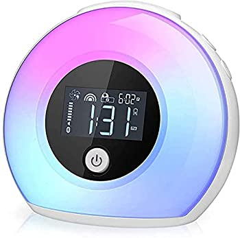 Wake Up Light Bluetooth Speaker Table Lamp Alarm Clock Night Light Bluetooth Speakers Lamp Dimmable Warm Light & Colorful Light Beside Lamp Music Player for Kids Party Bedroom Camping