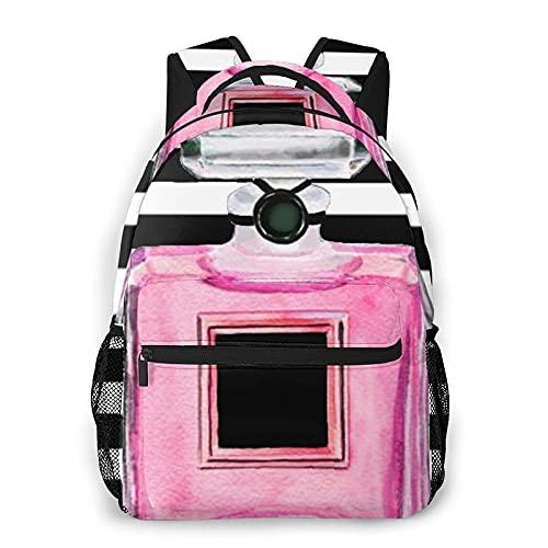 Mochila casual Pink Perfume Bottle Beauty Mak Adult College Shoulder Travel Bag