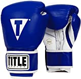 Title Boxing Pro Style Leather Training Gloves, Blue/White, 14 oz