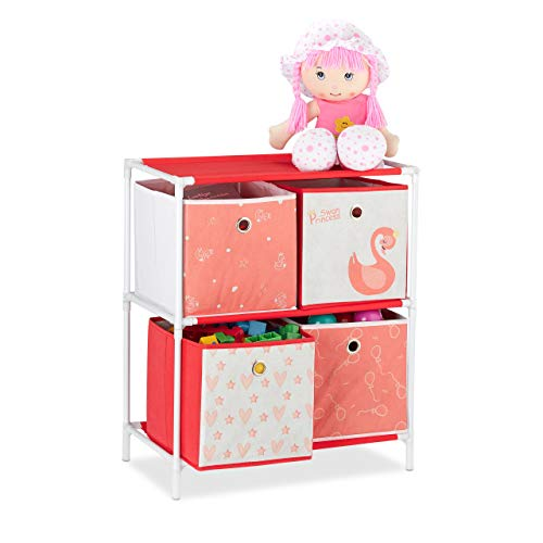 Relaxdays Kinderregal mit 4 Boxen, Spielzeug, Mädchen, Schwan-Design, Regal Kinderzimmer, HBT: 62 x 53 x 30 cm, weiß/rot