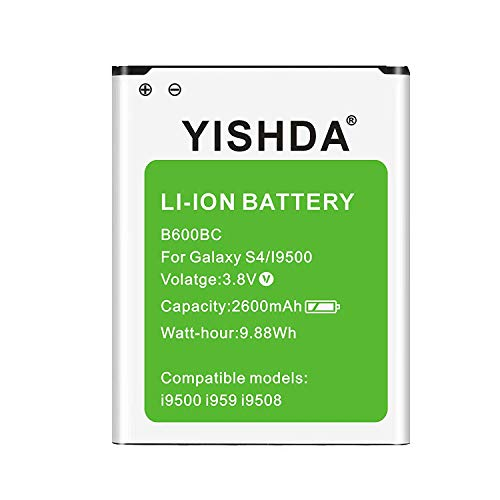 Galaxy S4 Battery, YISHDA 2600mAh Replacement Battery Compatible with Samsung Galaxy S4 B600BU for I337 I545 L720 M919 R970 I9500 I9505 | Samsung S4 Spare Battery