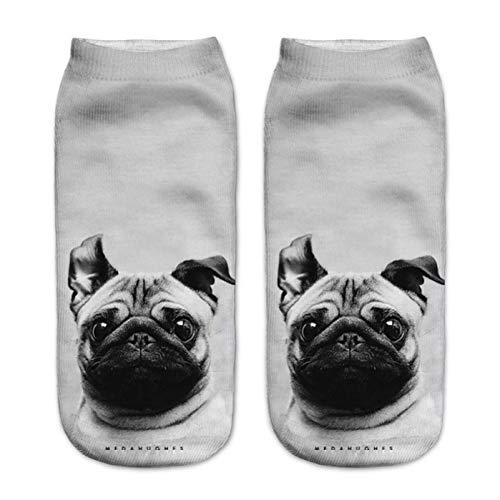 3d Drucken Socken Knöchelsocken 3D Mops Hund Druck Socken Casual Harajuku Kunst Socken Low Cut Tier Socke Knöchel frauen Socke Kurze Socken Weiblich