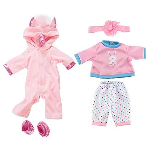 Buty Mädchen Puppen Unicorn Jumpsuit Sets Kreative Pferden-Muster-puppenkleidung Mit Schuh-Baby-Puppen-dekor Kleidung Kit 2 Set Rosa