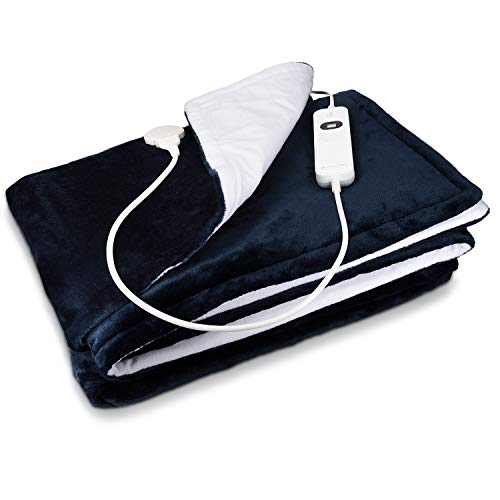 Navaris Manta eléctrica con termostato - Colcha XXL lavable 180 x 130 CM - Manta térmica con regulador de temperatura 3 niveles - Azul oscuro blanco
