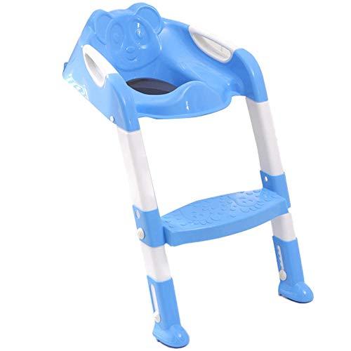 N \ A Azul Asiento WC Patrón de OsoAsiento para El WC con Escalera,Capacidad de Carga 50kg,Seguro, Antideslizante Asiento de Inodoro Ajustable para Niños de 1 a 7 Años