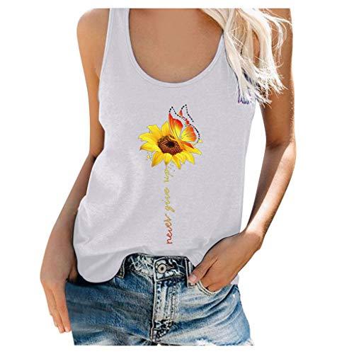 Binggong Damen Sommertop mit Sonnenblumen Druck Crop Tops Trägershirt Crewneck Schulterfrei Bodyshape Tunika Tops Weste Racerback Tops