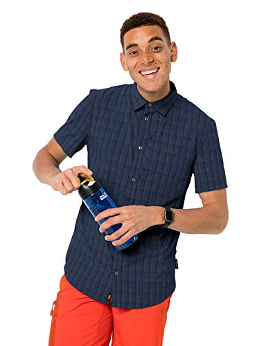 Jack Wolfskin Herren Hemd Rays Stretch Vent Shirt Men, Night Blue Checks, XL, 1401552-7881005
