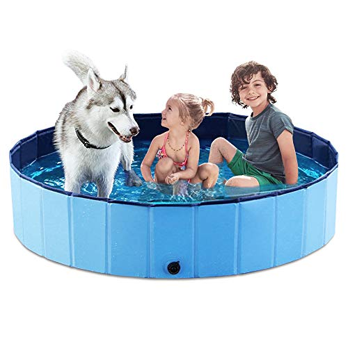 Jasonwell Foldable Dog Pet Bath Pool Collapsible Dog Pet Pool Bathing Tub Kiddie Pool for Dogs Cats and Kids (55.1inch.D x 11.8inch.H, Blue)