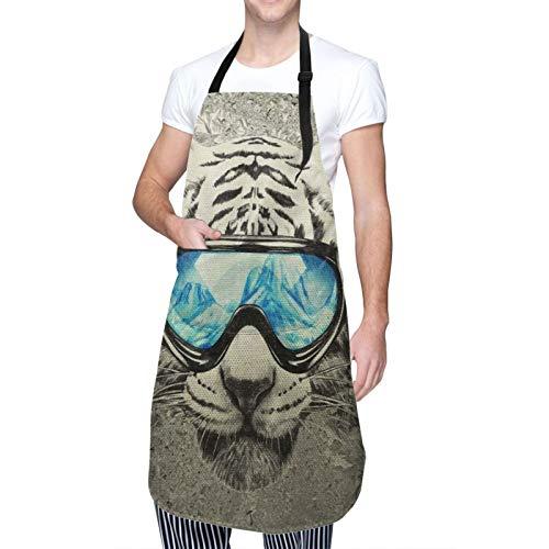 Blived Delantal de Cocina Impermeable con Bolsillos,Tigre Blanco de Moda,Ajustable Delantales Hombre Mujer Mandil Cocina para Jardinería Restaurante Barbacoa Cocinar Hornear