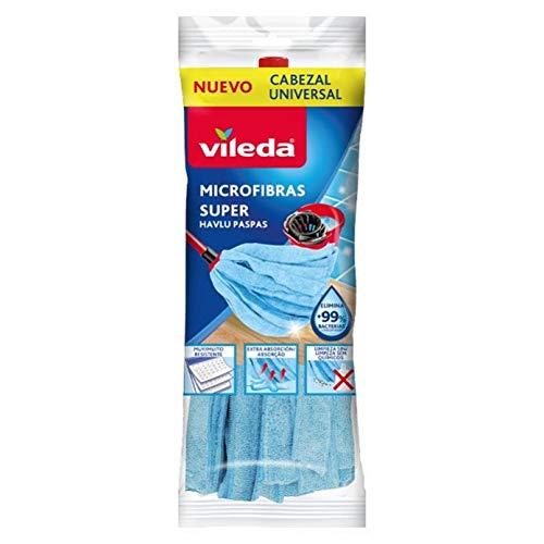 Vileda 167433 Fregona microfibras Tiras, Cabezal Universal, Azul, 12